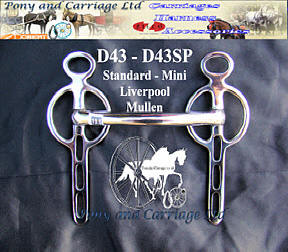 Mini and Standard Mullen Mouth Liverpool Carriage Driving Bit D43 D43SP