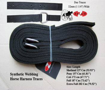 Zilco Horse Harness Traces Tedex Synthetic Webbing