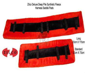 Zilco Red Fleece Horse Harness Saddle Pads
