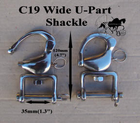 "Two Quick release swivel snap shackles stainless steel Wide 35mm (1.3"")U Part"