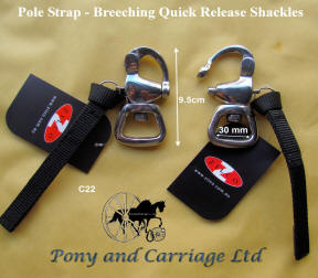Two Pole Strap - Breeching Quick release Closed End Swivel snap shackles
