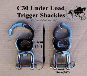 Two Quick release Under Load Trigger swivel snap shackles stainless steel