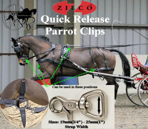 Zilco Pair of Quick release parrot clips Known also As Rein Snaps